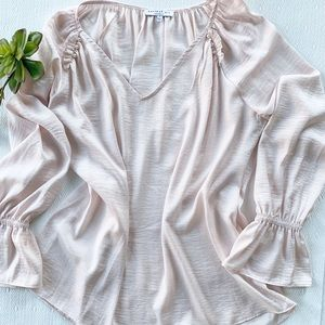 Anthropologie Current Air Blush Pink Blouse L